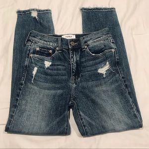 Pistola high rise distress fray hem jeans